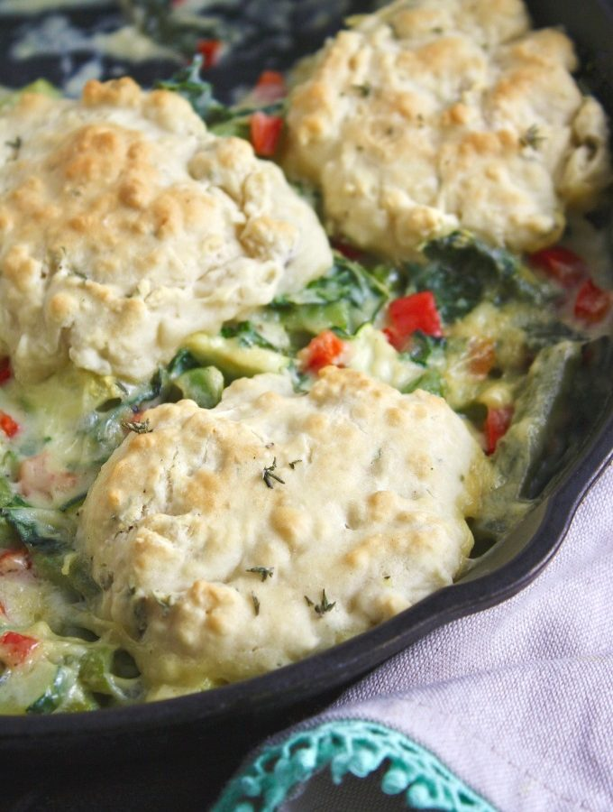 What could be more comforting than Creamy Skillet Veggies with Homemade Drop Biscuits?