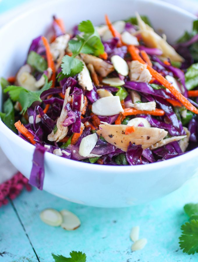 Crunchy Cabbage & Chicken Salad with Sesame Dressing
