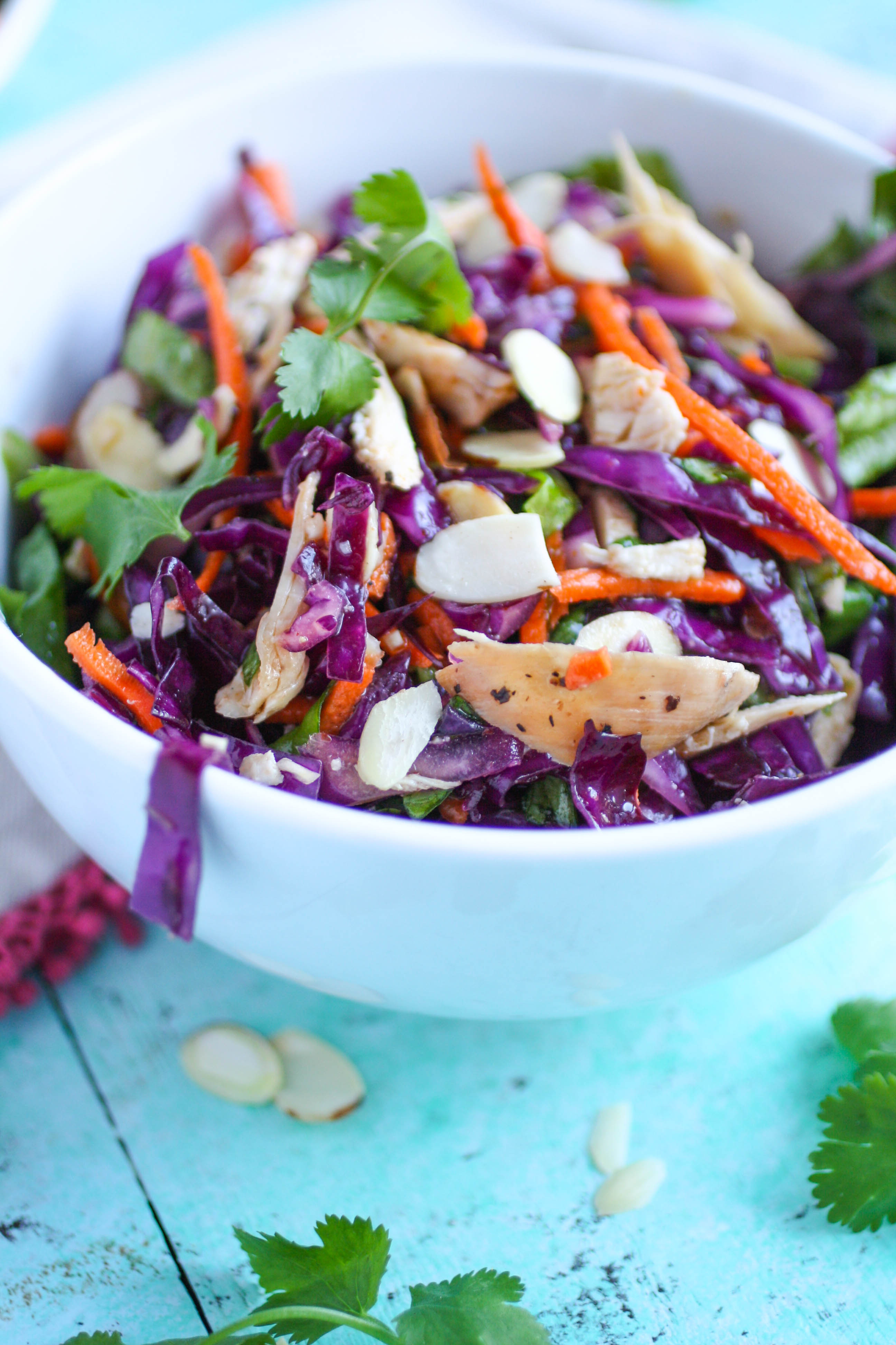 Crunchy Cabbage & Chicken Salad with Sesame Dressing is a great salad if you like crunch and color and flavor! This cabbage salad includes chicken to make it satisfying!