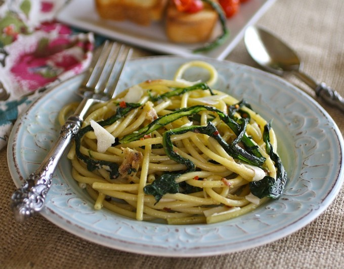 Bucatini with Wilted Dandelion Greens and Anchovy Sauce