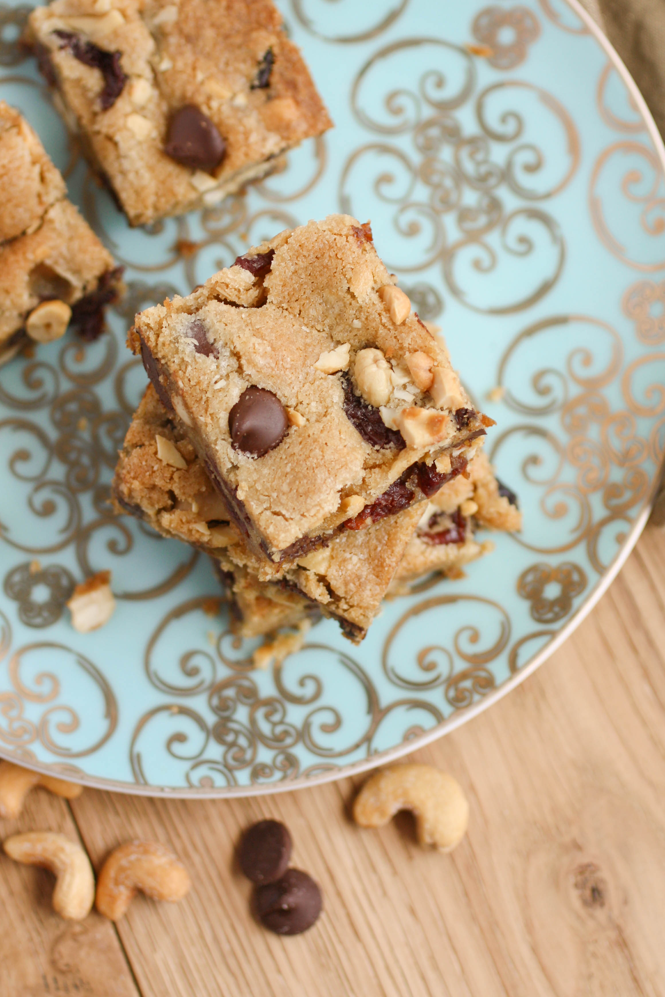 Dark Chocolate Chip Cherry Cashew Bars are a delightful upgrade to standard cookies. You'll love the ingredients stuffed into these treats!
