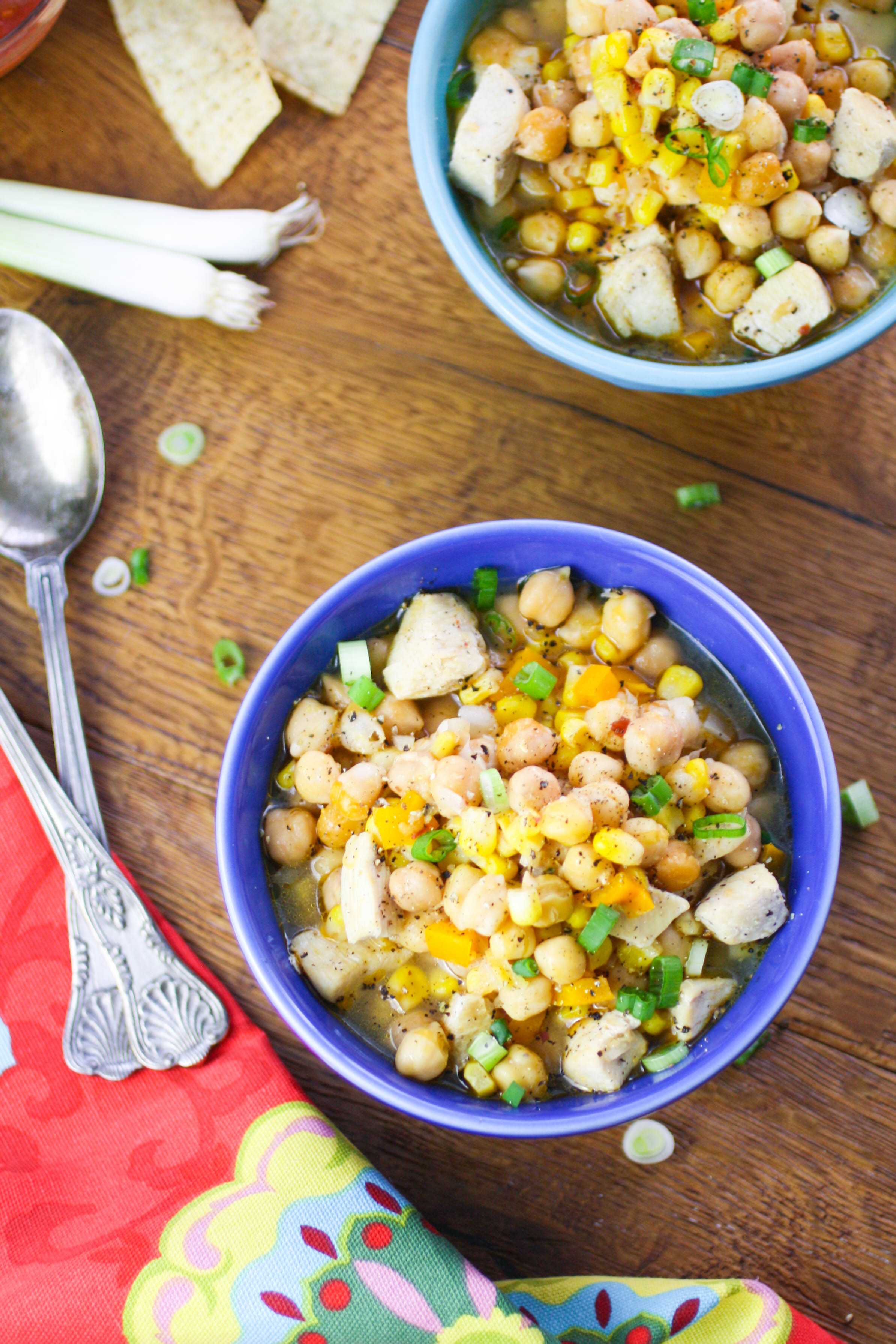 Easy Chicken and Chickpea Chili is a lovely dish any night of the week. This chili is perfect when it's cold outdoors!
