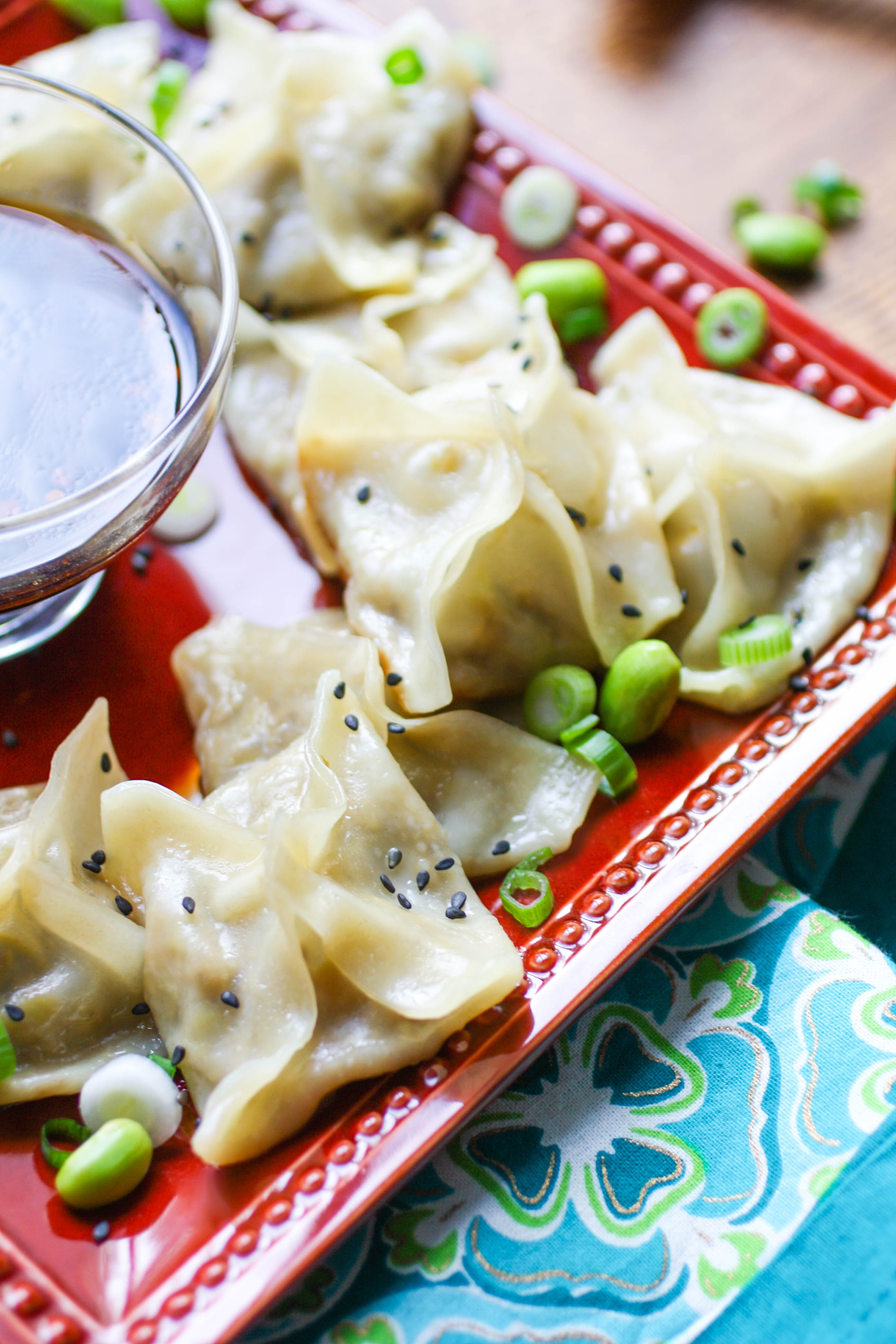 Edamame and Mushroom Potstickers with Dipping Sauce are fun to snack on, and tasty, too! Edamame and mushroom potstickers make a great appetizer or snack -- you'll love the dipping sauce, too.