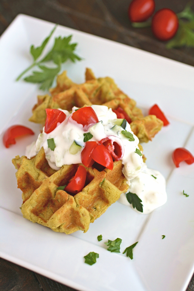 Falafel Waffle Bites with Tzatziki Sauce are perfect as an appetizer or as part of a light meal.
