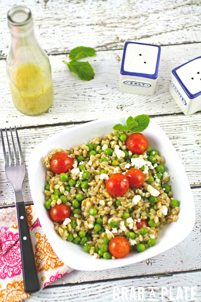 Farro and Pea Salad with Lemon-Mint Vinaigrette looks pretty at your table and tastes terrific