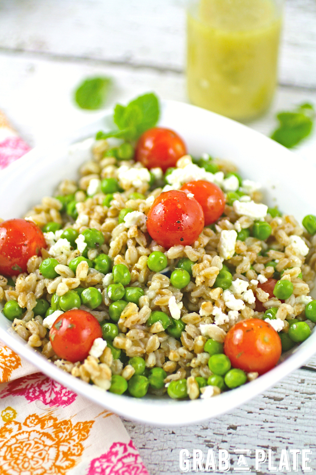 """A bowl of Farro and Pea Salad with Lemon-Mint Vinaigrette has """"spring"""" written all over it!"""