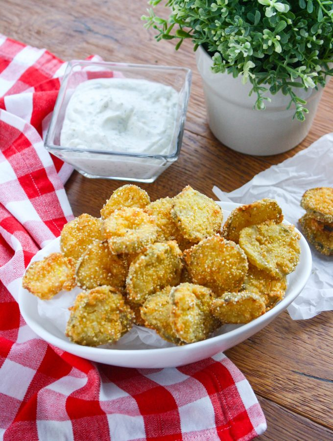 Fried Pickles with Homemade Buttermilk Ranch Dressing