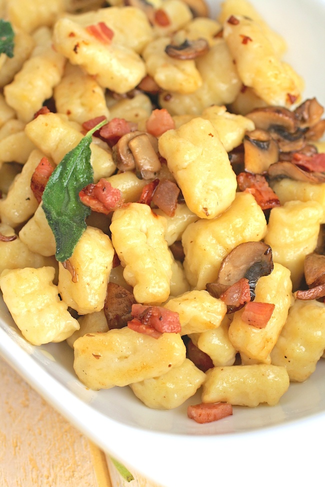 A bowl of Homemade Gnocchi with Pancetta, Mushrooms, and Sage