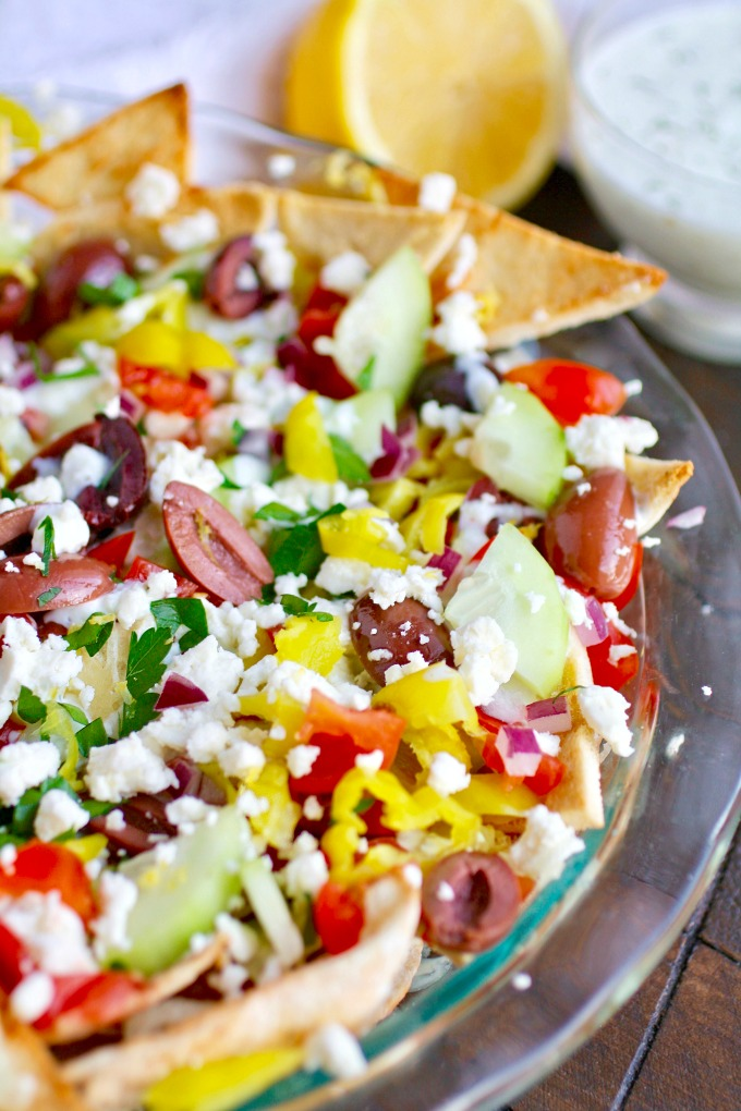 Big flavor is the name of the game with Greek Nachos with Tzatziki Sauce!