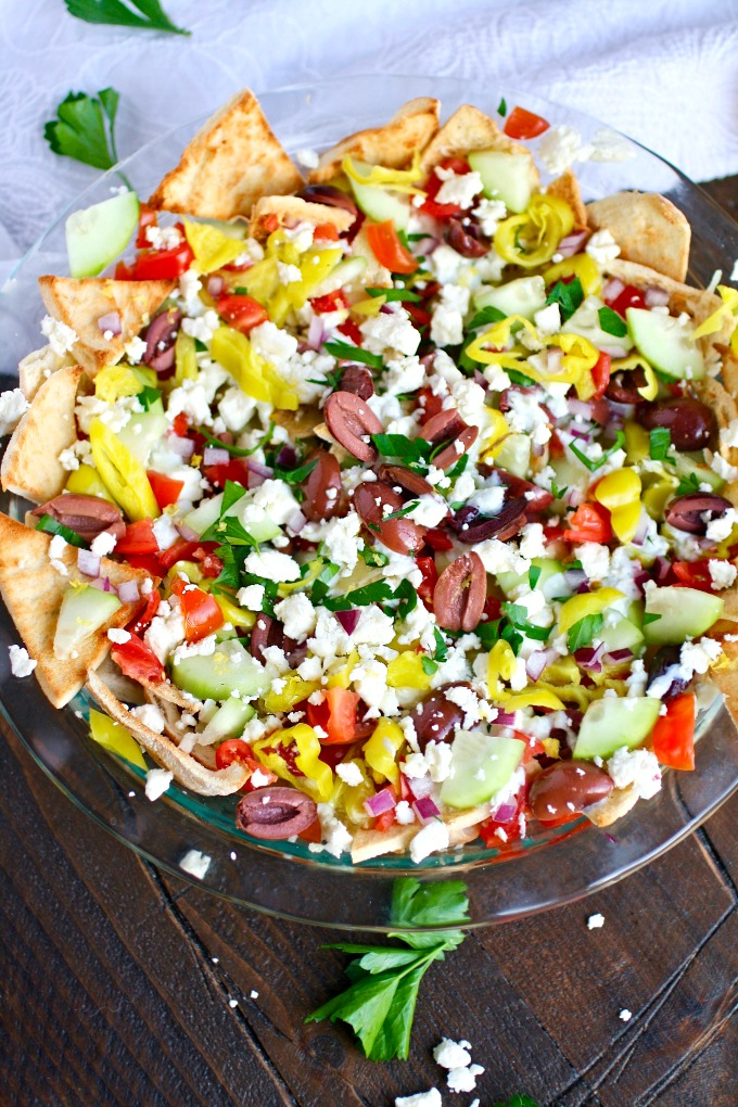 Hungry for a snack? Greek Nachos with Tzatziki Sauce are big on flavor and crunch!