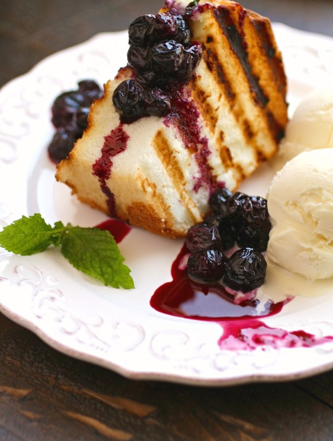 Grilled Angel Food Cake with Roasted Blueberries