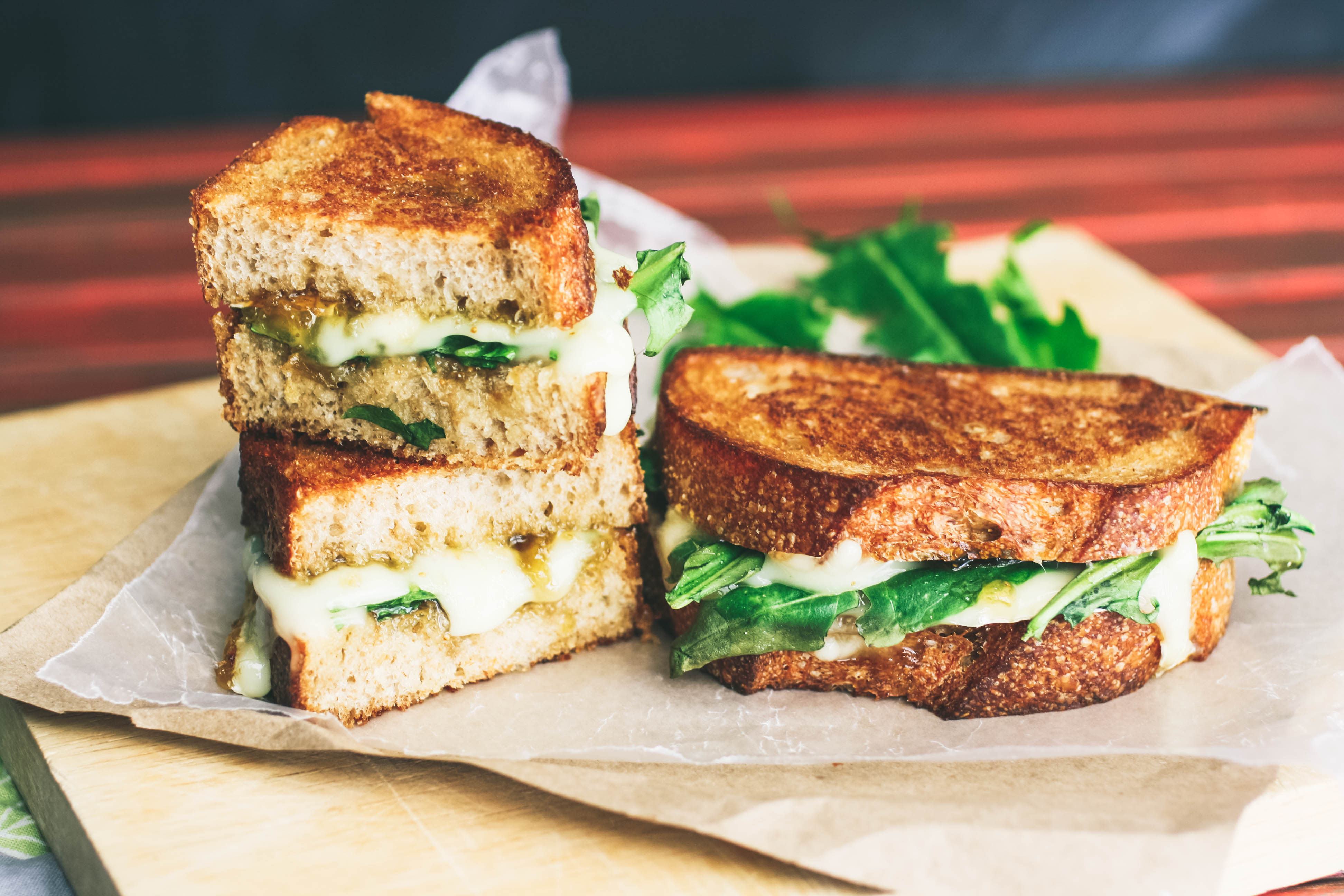 Grilled Brie, Fig Jam, and Dandelion Greens Sandwiches make a flavorful meal! You'll adore how flavorful these Grilled Brie, Fig Jam, and Dandelion Greens Sandwiches are.