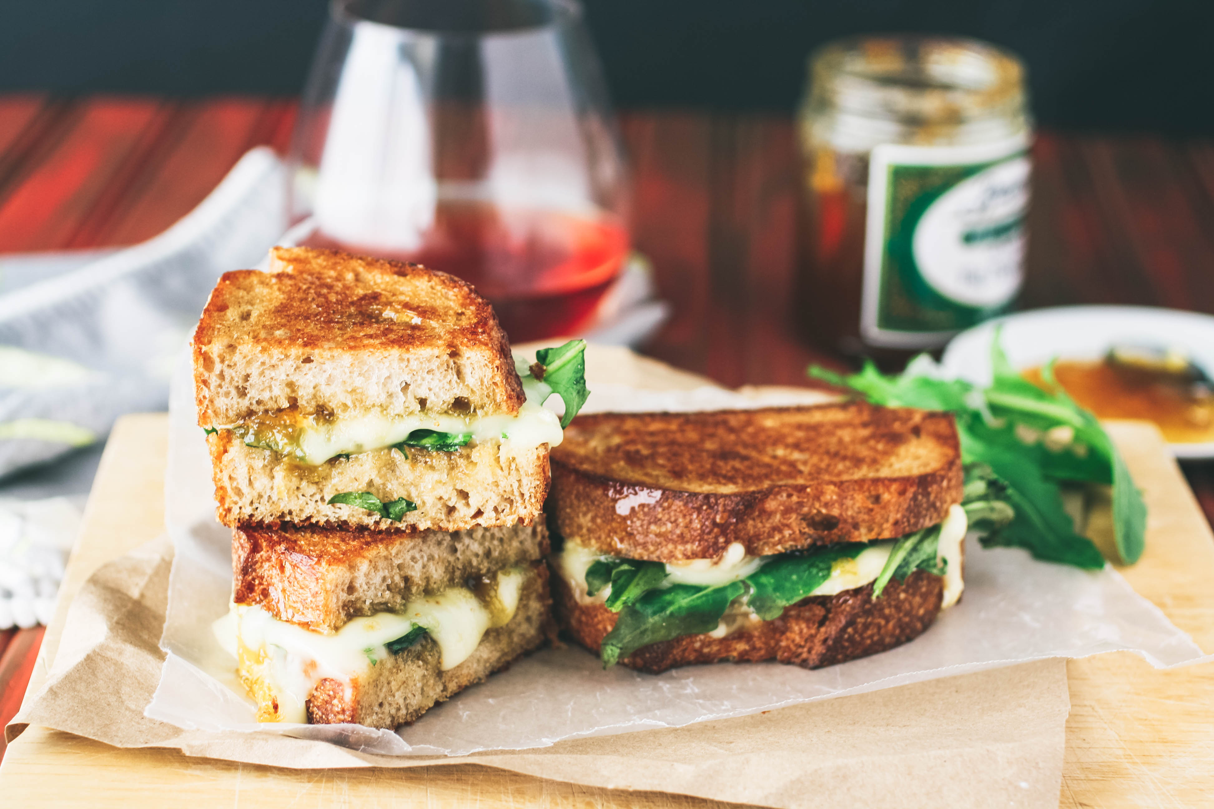 Grilled Brie, Fig Jam, and Dandelion Greens Sandwiches are a treat for when you need a uniquely different and delicious dish! Grilled Brie, Fig Jam, and Dandelion Greens Sandwiches make a fun and flavorful meal.