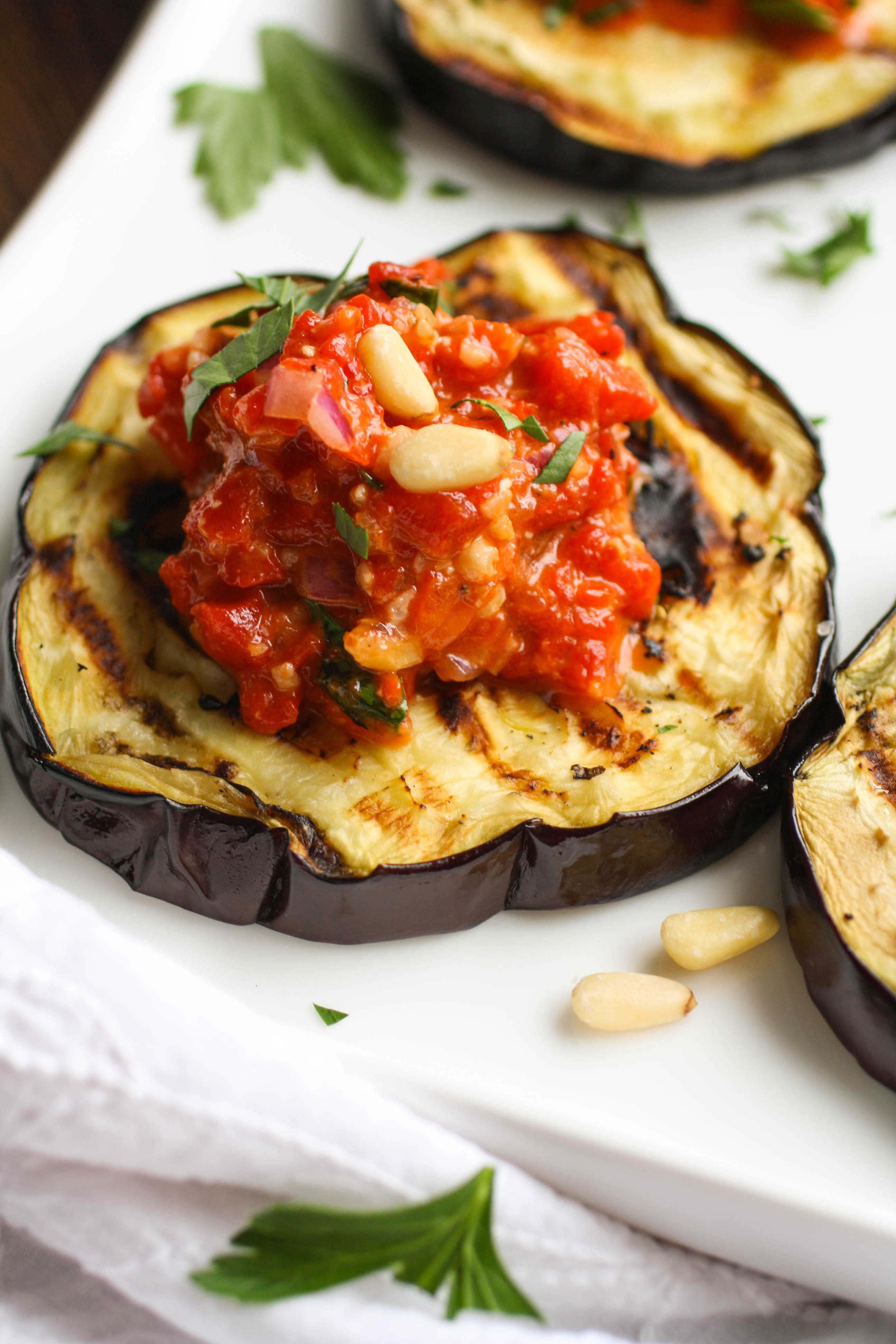 Grilled Eggplant with Roasted Red Pepper Tapenade is a great summer dish. You'll love how easy it is to make, and how delicious it is!