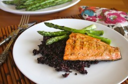 Grilled Salmon with asparagus and black rice