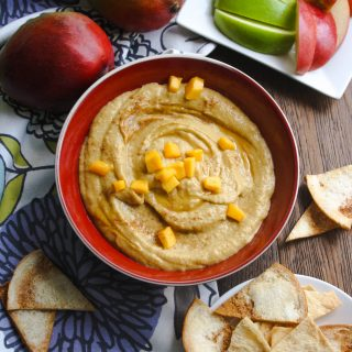 Honey-Mango Dessert Hummus is a fantastic treat! It makes a healthy snack, or good-for-you dessert, too!