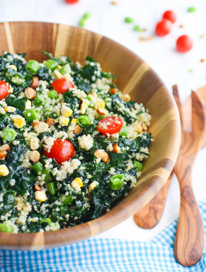Kale and Quinoa Salad with Honey-Dijon Dressing is a great part of a light meal. You'll love how easy it is to make Kale and Quinoa Salad with Honey-Dijon Dressing.