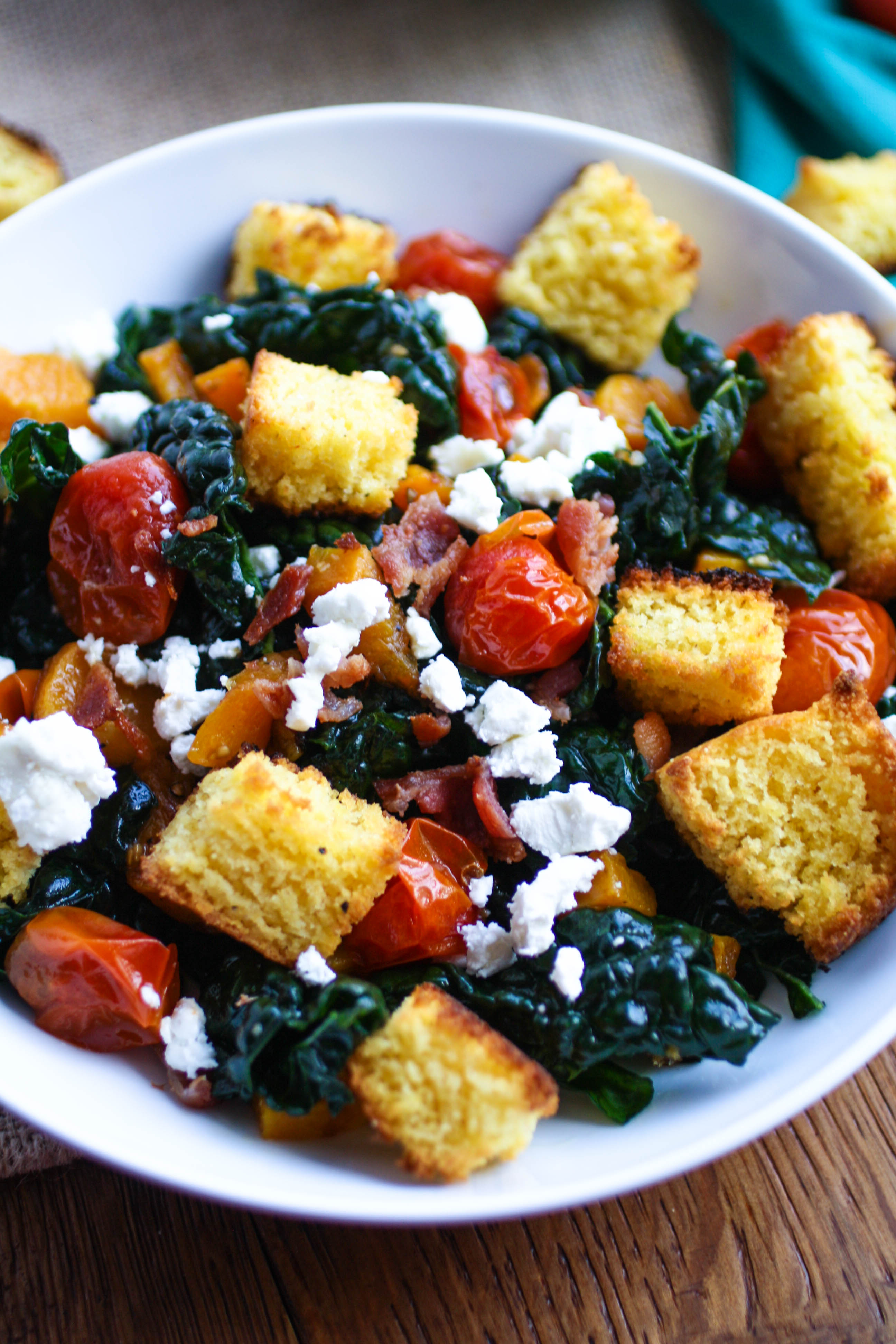 Kale and Cornbread Crouton Salad makes a fabulous day-after Thanksgiving dish. You'll love using up your Thanksgiving leftovers to make this salad -- especially that cornbread!