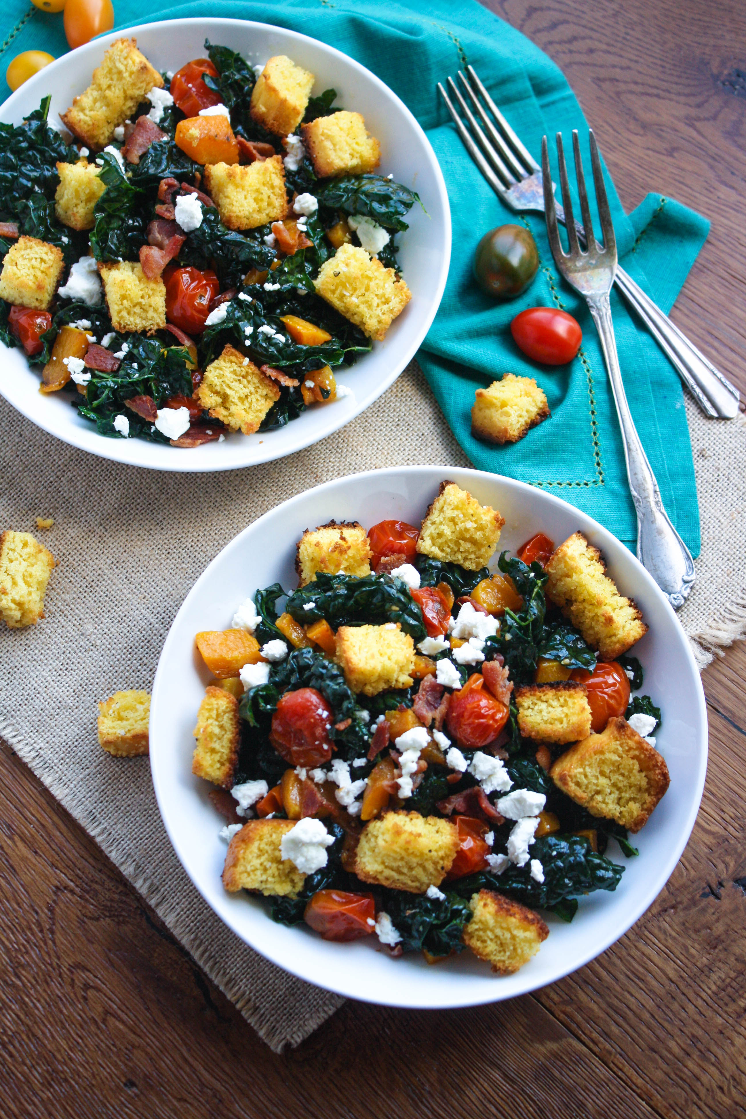 Kale and Cornbread Crouton Salad is a great day-after Thanksgiving dish. You'll love the cornbread croutons in this kale salad!