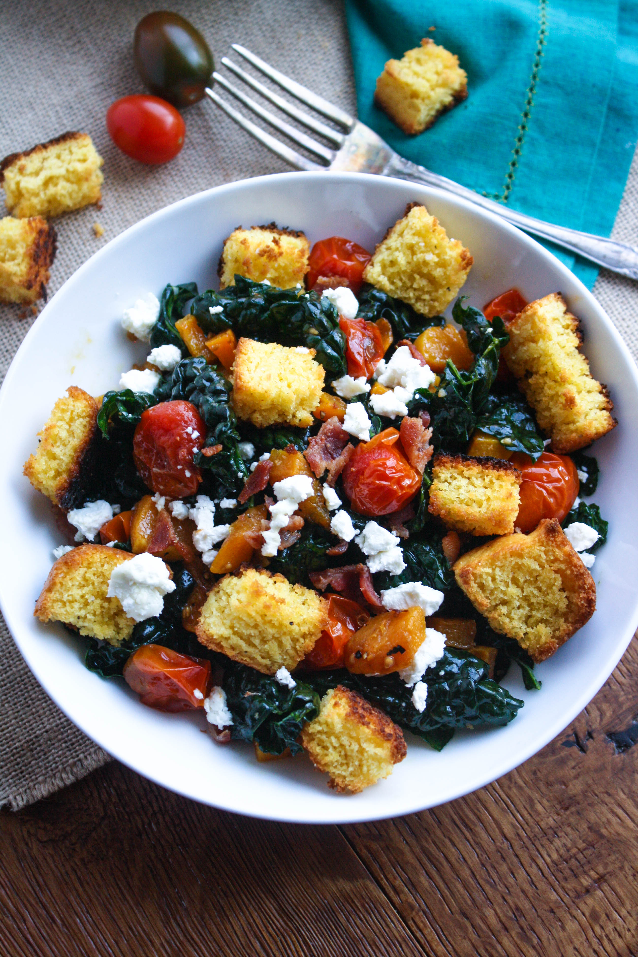 Kale and Cornbread Crouton Salad is a great salad to serve after an indulgent holiday! The cornbread croutons are a great addition to this kale salad.