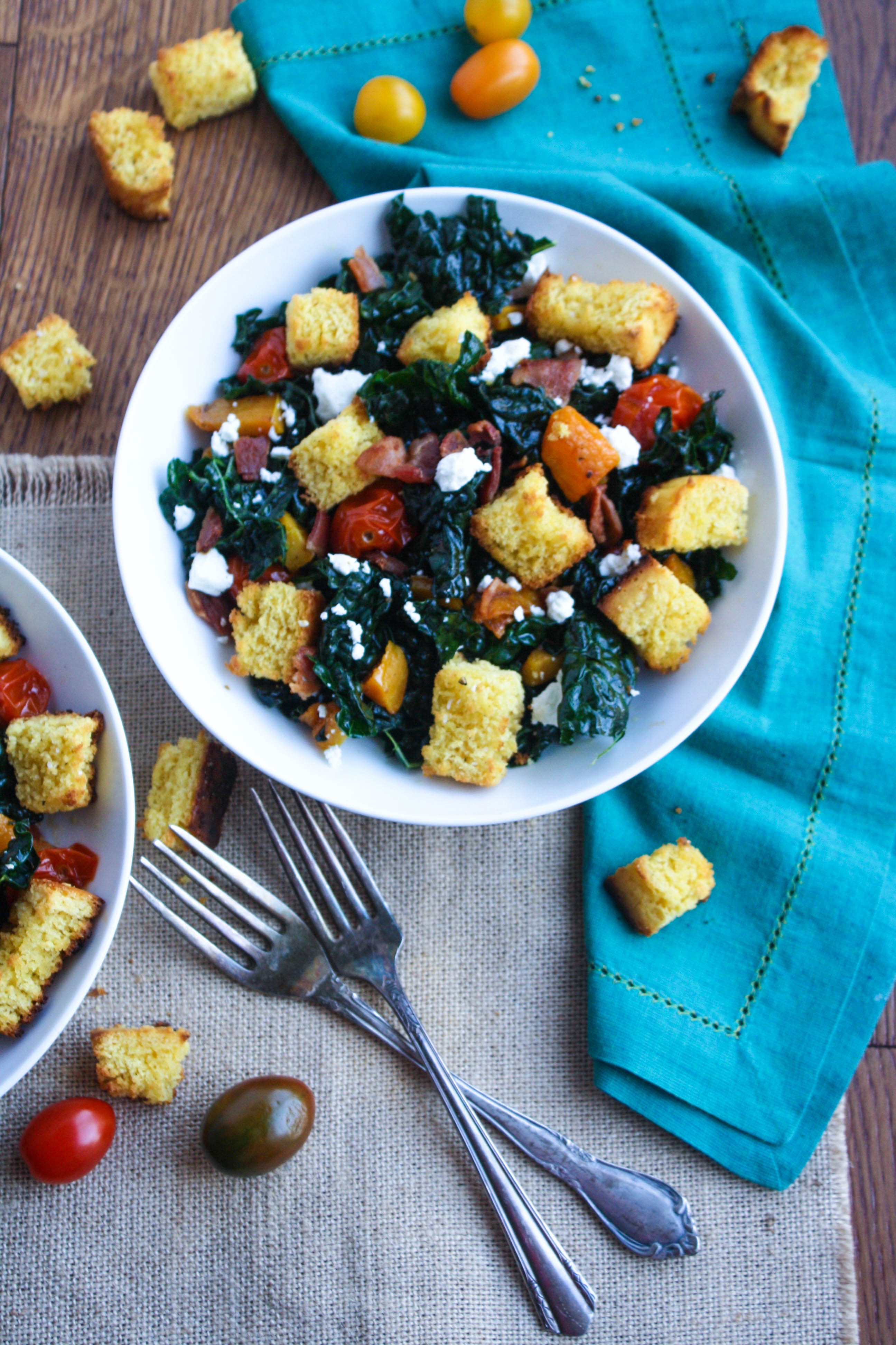 Kale and Cornbread Crouton Salad makes a great salad any day of the year, but especially after Thanksgiving. Cornbread croutons are a nice touch to this kale salad.