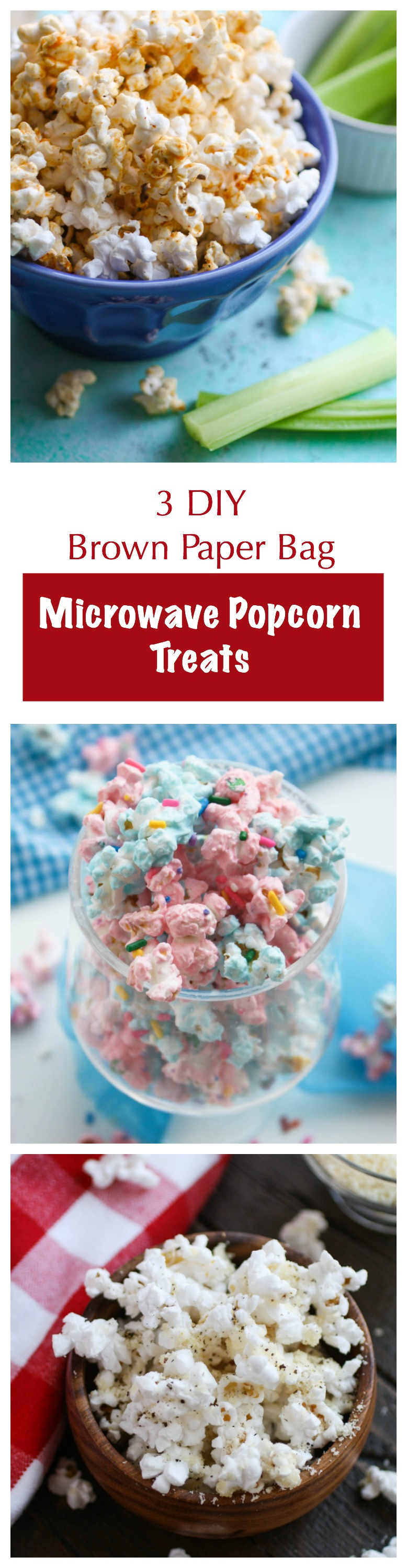 3 DIY Brown Paper Bag Microwave Popcorn Treats offer something for everyone! You'll love the options: sweet, salty, and spicy for fun sancking!