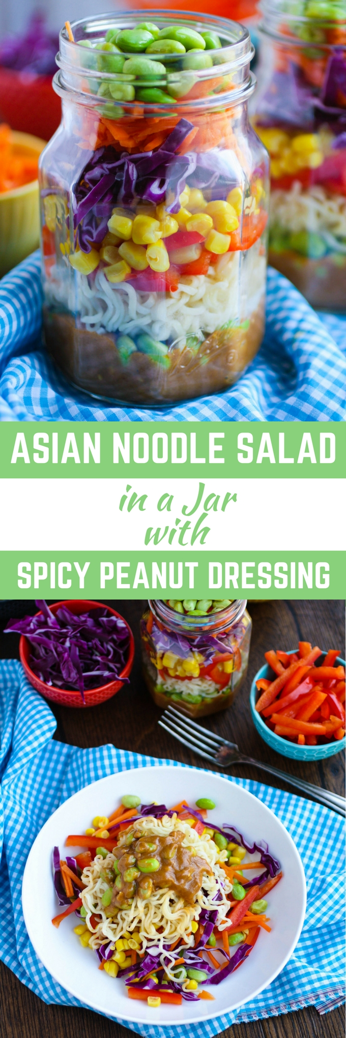 Asian Noodle Salad in a Jar with Spicy Peanut Dressing makes a great summer meal. You'll also love it as a take-to-work lunch. Super convenient, and delicious!