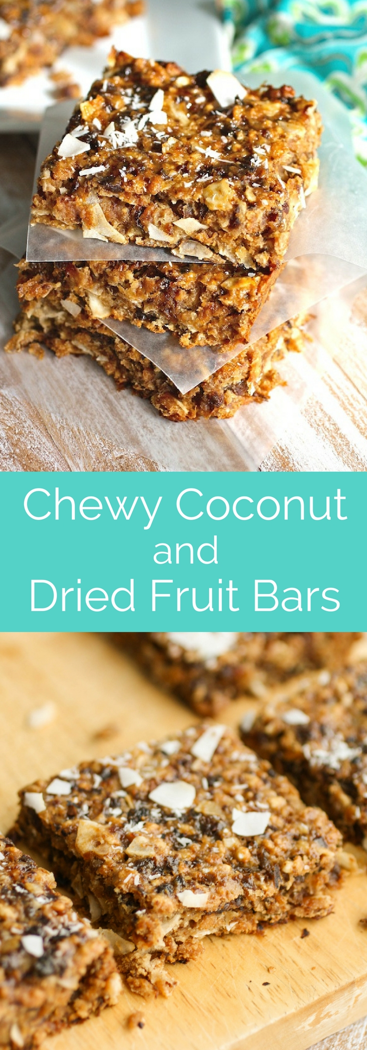 Chewy Coconut and Dried Fruit Bars are sweet and delightful! These chewy bars have a healthy vibe for a snack or dessert.
