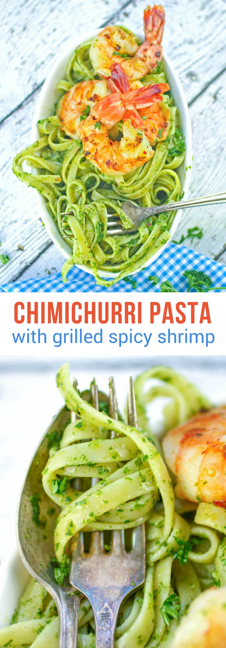 Chimichurri Pasta with Grilled Spicy Shrimp is easy to make and so flavorful. Chimichurri Pasta with Grilled Spicy Shrimp is the perfect dish to help welcome spring, and to serve during Lent, too.