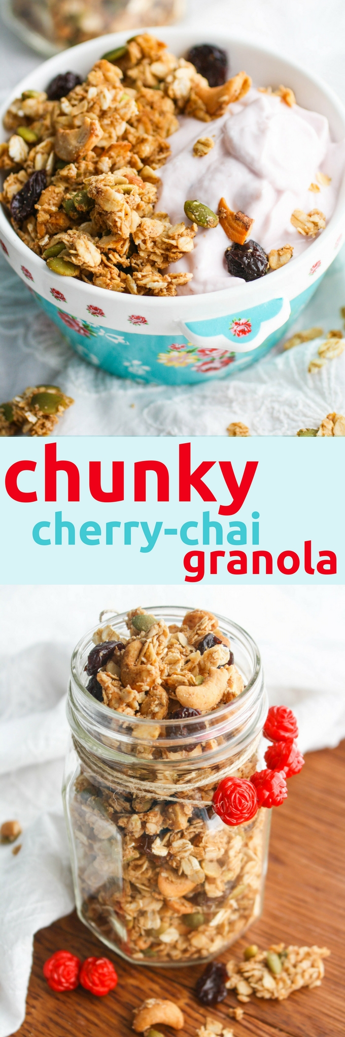 Chunky Cherry-Chai Granola is wonderful in the morning, afternoon, or evening! The ways to enjoy homemade granola are endless!
