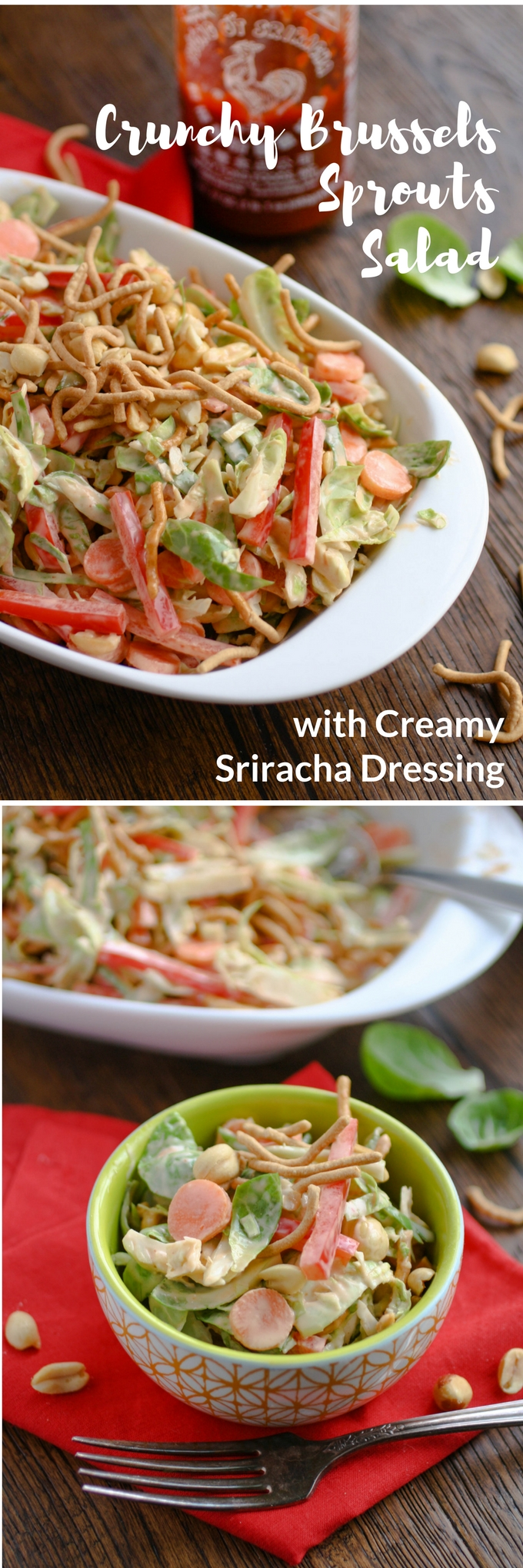 Crunchy Brussels Sprouts Salad with Creamy Sriracha Dressing is a soon-to-be favorite salad in your house! Try it for its delicious flavors and fab textures!