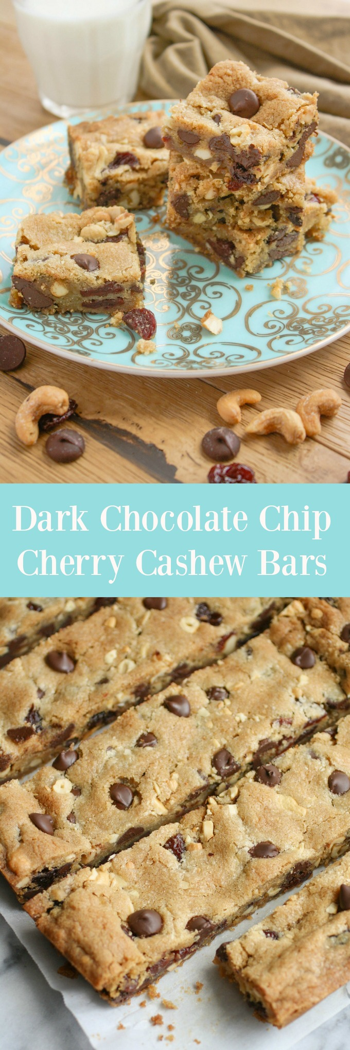Dark Chocolate Chip Cherry Cashew Bars are a true treat! You'll love the upgrade from mere cookies given to these bars!