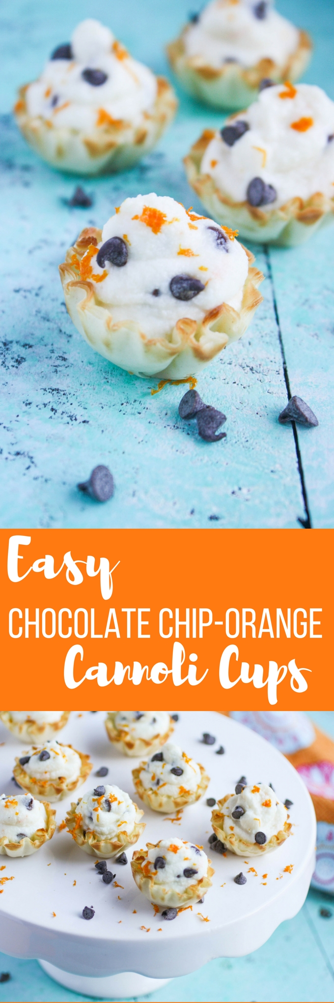 Easy Chocolate Chip-Orange Cannoli Cups are a tasty treat for any celebration! You'll love how easy these cannoli cups are to make!