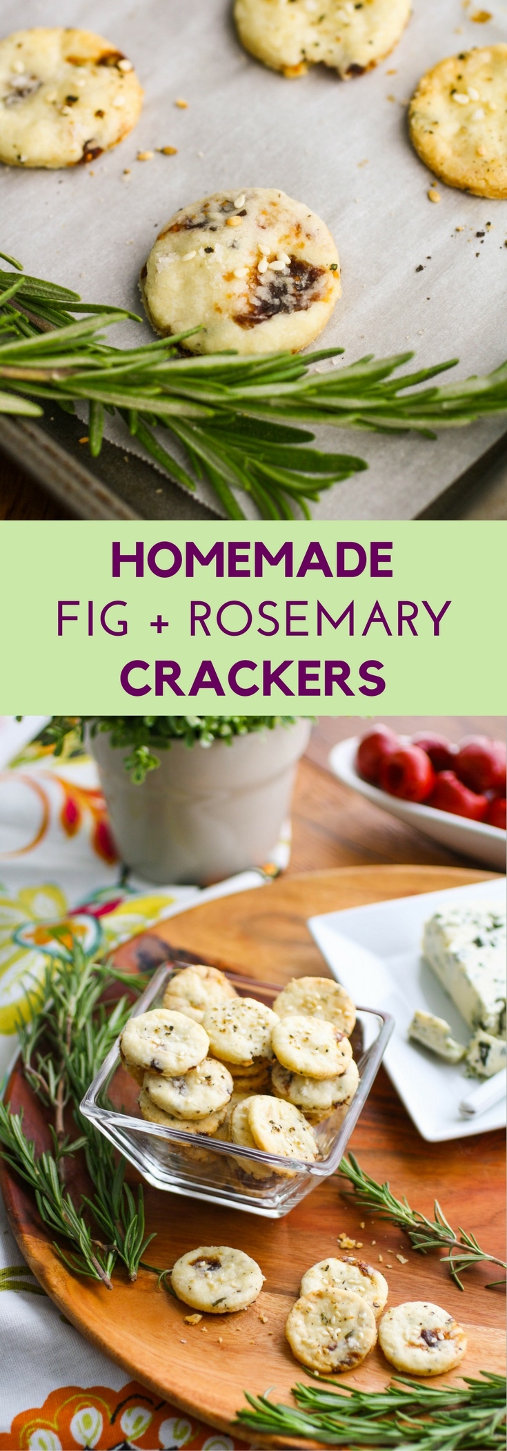 Fig and Rosemary Crackers are a delight, and perfect for your next snack. You'll love Fig and Rosemary Crackers to serve with cheese at your next party.