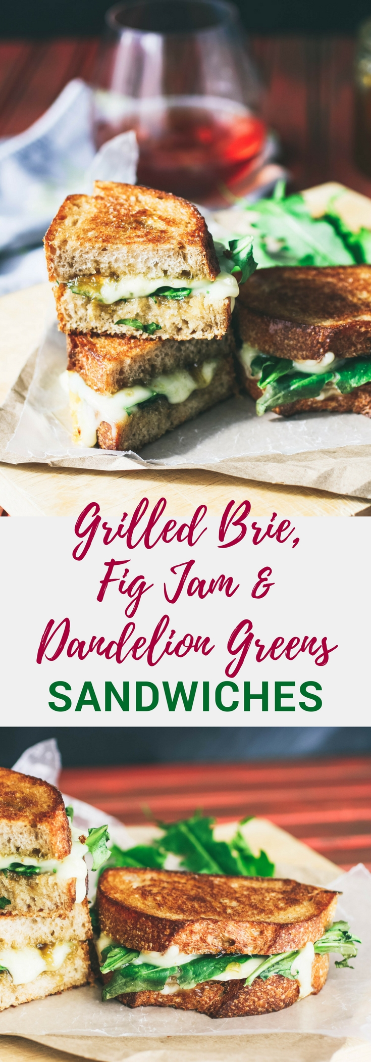Grilled Brie, Fig Jam, and Dandelion Greens Sandwiches make a wonderful meal. You'll love how unique these Grilled Brie, Fig Jam, and Dandelion Greens Sandwiches are.