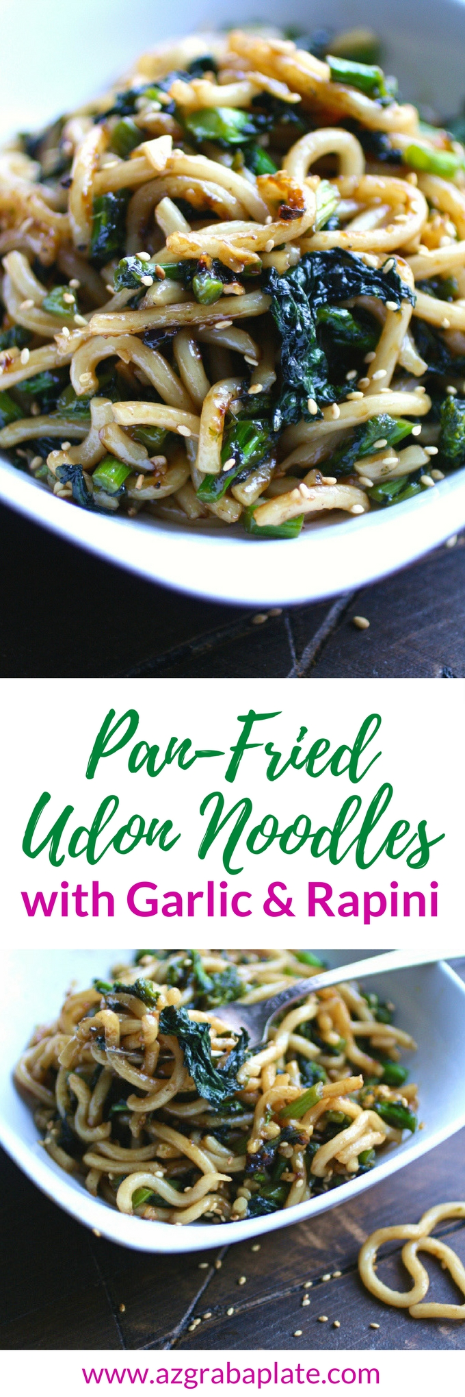 Pan-Fried Udon Noodles with Garlic and Rapini is an amazingly delicious and simple dish you'll love. It's so easy to make this noodle dish!