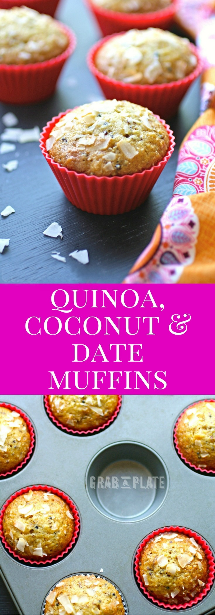 Quinoa, Coconut & Date Muffins are a tasty treat! Great for breakfast, or as a snack!