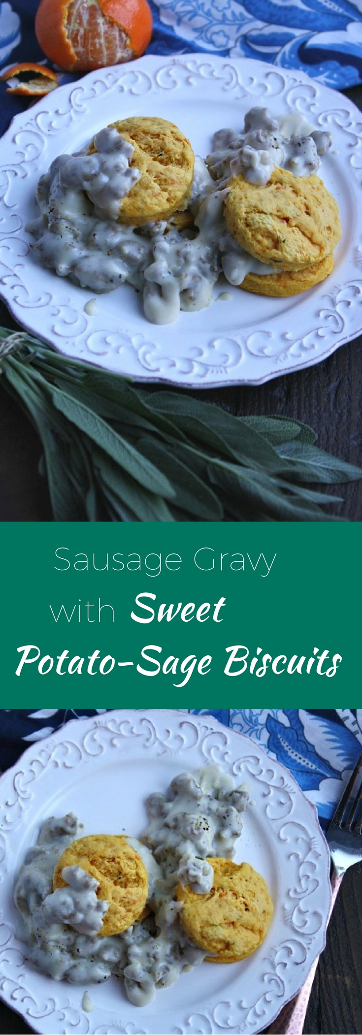 Make a fabulous (and easy) fall breakfast: Sausage Gravy and Sweet Potato-Sage Biscuits!