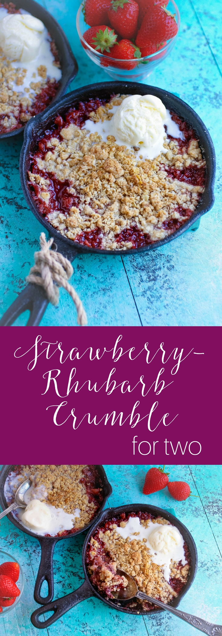 Strawberry-Rhubarb Crumble for Two is a fabulous seasonal dessert. Strawberry-Rhubarb Crumble for Two is perfect when there are only a few of you looking for a wonderful dessert!