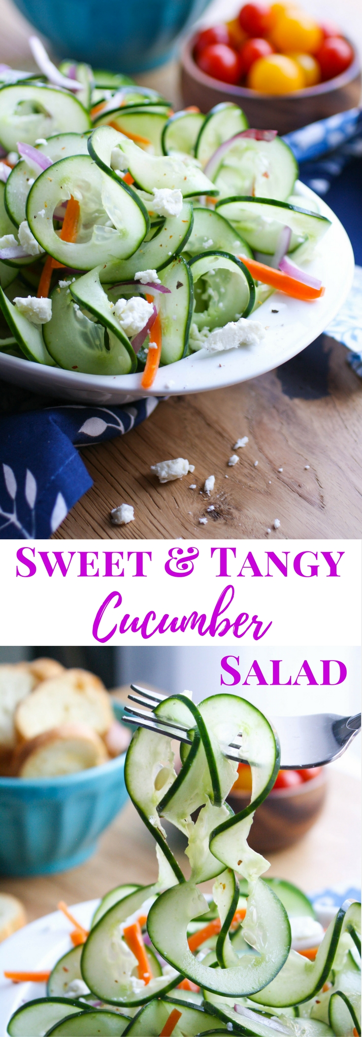 Sweet and Tangy Cucumber Ribbon Salad is a delightful salad that's great anytime. You'll love the flavor from the cucumbers and the simple dressing.