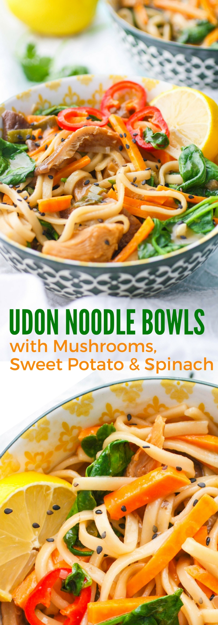 Udon Noodle Bowls with Mushroom, Sweet Potato & Spinach make a wonderful meal any night of the week. You'll love these Udon Noodle Bowls with Mushroom, Sweet Potato & Spinach.
