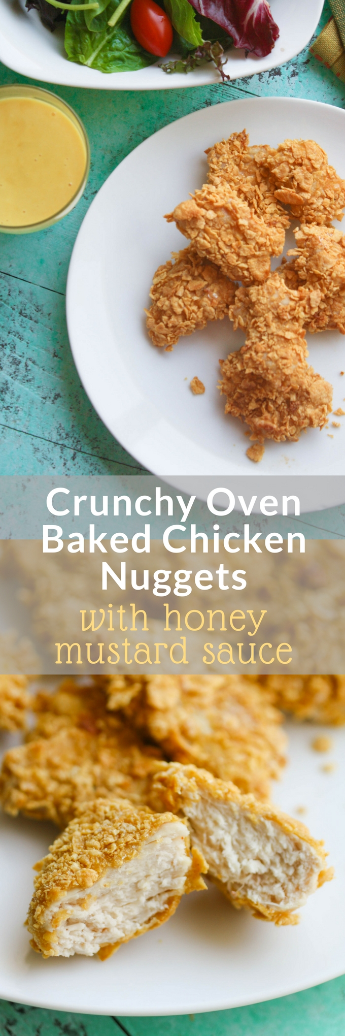 Crunchy Oven Baked Chicken Nuggets With Honey Mustard Sauce Are Easy To Make For Lunch Or