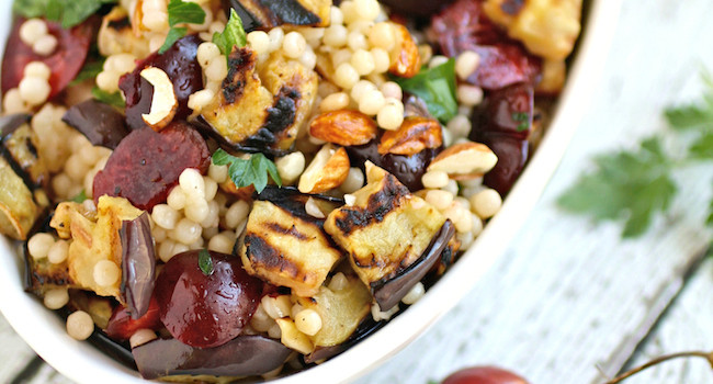 Meatless Monday: Grilled Eggplant, Cherries, and Couscous Salad