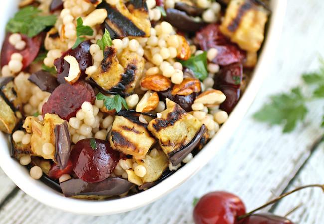 Grilled-Eggplant-Cherries-Couscous-Salad