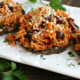 This meatless dish -- Orzo & Olive Stuffed Portobello Mushrooms -- is hearty and flavorful!