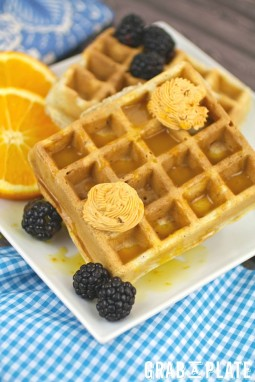 Blue Cornmeal Waffles with Chipotle Butter and Orange Syrup