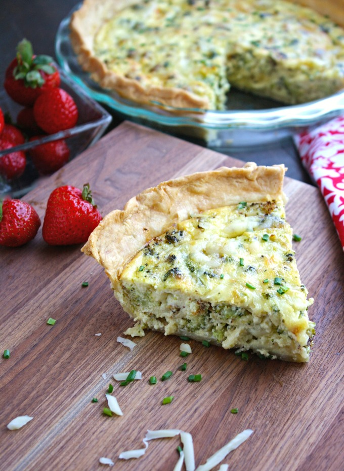 Roasted Broccoli and Swiss Quiche makes a great Meatless Monday meal, or special brunch!