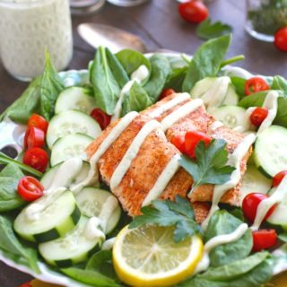 You'll love this Spinach & Salmon Salad with Creamy Dairy-Free Herbed Dressing -- it's perfect for the summer months!