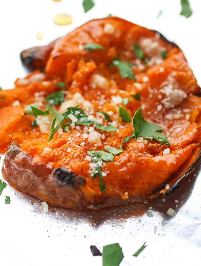 Maple Chipotle Parmesan Smashed Sweet Potatoes