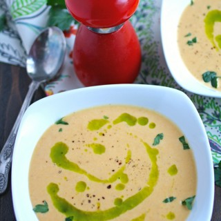 Roasted Butternut Squash & Fennel Soup with Parsley Oil is a fabulous between-the-seasons soup!